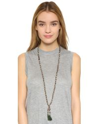 Chan Luu - Leather Beaded Tassel Necklace - Labradorite/natural Brown - Lyst