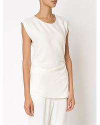 3.1 Phillip Lim - White Ruched Raw Edge Tank Top - Lyst
