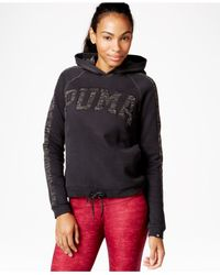 PUMA | Black Varsity Logo Hoodie | Lyst