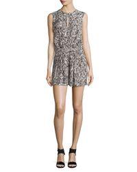 Halston - Brown Sleeveless Faux-wrap Short Jumpsuit - Lyst