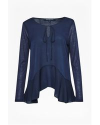 French Connection - Blue Polly Plains Flared Hem Top - Lyst