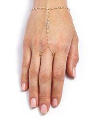 Ela Rae | Metallic 'sosi' Semiprecious Stone Hand Chain - Moonstone/ Gold | Lyst