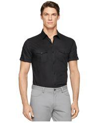 Calvin Klein - Black Twill Stripe Shirt for Men - Lyst