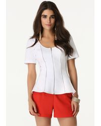Bebe | White Zip Front Fitted Top | Lyst