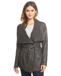 Elie Tahari - Black 'isabelle' Asymmetrical Knit Trim Leather Wrap Jacket - Lyst