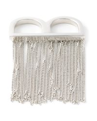 MM6 by Maison Martin Margiela - Metallic Fringed Double Ring - Lyst