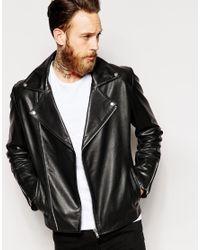 ASOS - Black Leather Biker Jacket With Double Zip for Men - Lyst