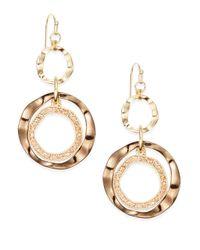 Saks Fifth Avenue - Metallic Triple-ring Earrings - Lyst