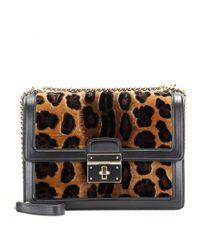 Dolce & Gabbana - Black Rosalia Velvet and Leather Shoulder Bag - Lyst
