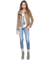 June - Brown Hooded Leather Jacket - Dust - Lyst