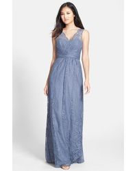Amsale | Gray Empire Waist Lace Column Gown | Lyst