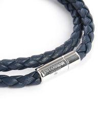 Tateossian | Blue Navy Leather Pop Scoubidou Double 38 Cm Bracelet for Men | Lyst