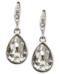 Givenchy | Metallic Silver-tone Crystal Teardrop Earrings | Lyst
