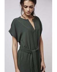 TOPSHOP - Green V-neck Belted Midi Dress - Lyst