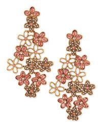 Oscar de la Renta - Pink Crystal Daisy Clip-on Earrings - Lyst