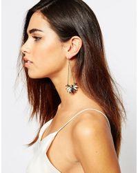 Little Mistress | Metallic Stone & Chain Drop Earrings | Lyst