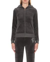 Juicy Couture | Gray Embellished Velour Hoody | Lyst