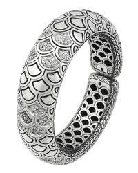 John Hardy | Metallic Diamond Pave Bold Flex Cuff | Lyst