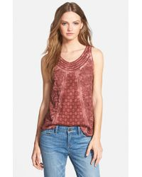 Hinge | Red Lace Inset Tank | Lyst