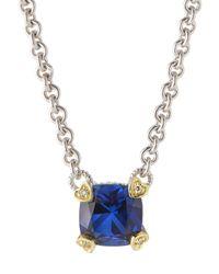 Judith Ripka | Fontaine Cushion-Cut Blue Corundum Pendant Necklace | Lyst