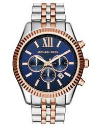 MICHAEL Michael Kors | Metallic Michael Kors 'large Lexington' Chronograph Bracelet Watch | Lyst