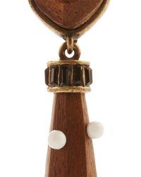 Lela Rose - Brown Cabochon Detail Earring - Lyst