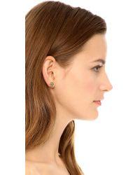Tory Burch | Metallic Hex Logo Stud Earrings - Shiny Gold | Lyst