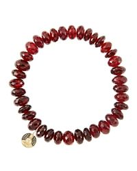 Sydney Evan - Metallic 8Mm Faceted Garnet Beaded Bracelet With 14K Gold/Diamond Small Buddha Charm (Made To Order) - Lyst