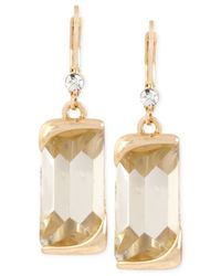Kenneth Cole | Metallic Kenneth Cole Gold-tone Rectangular Stone Drop Earrings | Lyst