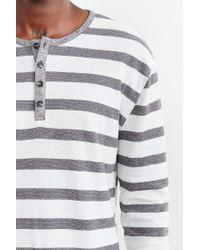BDG | Gray Winterlite Striped Henley Tee for Men | Lyst