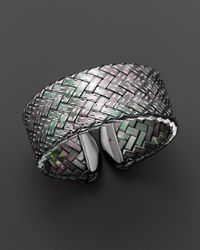 Roberto Coin | Metallic Ruthenium Plated Sterling Silver Woven Cuff | Lyst