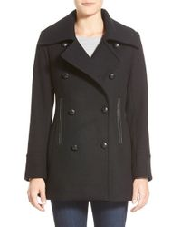Pendleton - Black 'cascades' Double Breasted Wool Blend Peacoat - Lyst