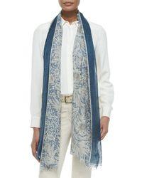 Loro Piana | Blue Victorian Flowers Stole | Lyst