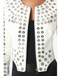 Bebe | White Leather Grommet Jacket | Lyst