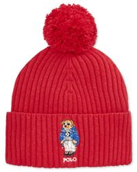 Polo Ralph Lauren | Red Ski Bear Pom-knit Cuffed Beanie for Men | Lyst