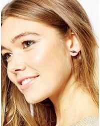 Pieces - Gray Stud Earrings - Lyst