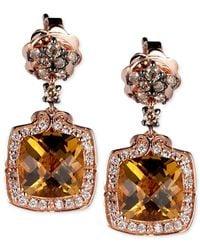 Le Vian | Brown Chocolatier® Cognac Quartz (2-1/2 Ct. T.w.) And Diamond (1/3 Ct. T.w.) Drop Earrings In 14k Rose Gold | Lyst
