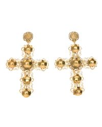 Dolce & Gabbana - Metallic Ornate Crucifix Earrings - Lyst