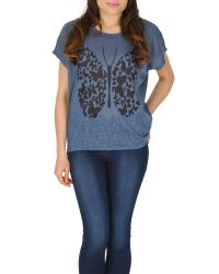 Izabel London | Blue Graphic Butterfly Print Top | Lyst