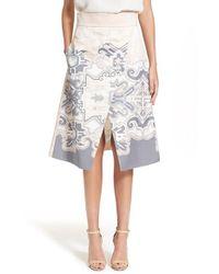 Tibi | Gray A-line Silk Print Skirt | Lyst