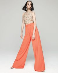 Alice + Olivia - Pink Pleated Wide-leg Trousers - Lyst