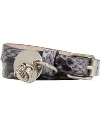Alexander McQueen | Black And Grey Leather Double_wrap Bracelet | Lyst