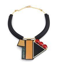Marni - Black Multicolor Geometric Tube Necklace - Lyst