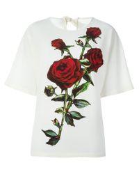 Dolce & Gabbana - Natural Rose Appliqué Top - Lyst