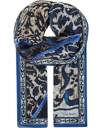 Roberto Cavalli | Gray Patterned Silk Scarf | Lyst