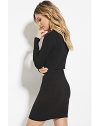 Forever 21 - Black Ribbed Knit Combo Dress - Lyst