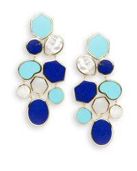 Ippolita | Blue Polished Rock Candy Lapis, Turquoise, Mother-of-pearl & 18k Yellow Gold Mosaic Earrings | Lyst