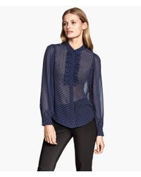 H&M - Blue Spotted Frilled Blouse - Lyst