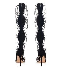 Gianvito Rossi - Black Gladiator Lace-Up Suede Sandals - Lyst