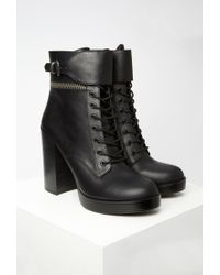 Forever 21 - Black Faux Leather Lace-up Booties - Lyst